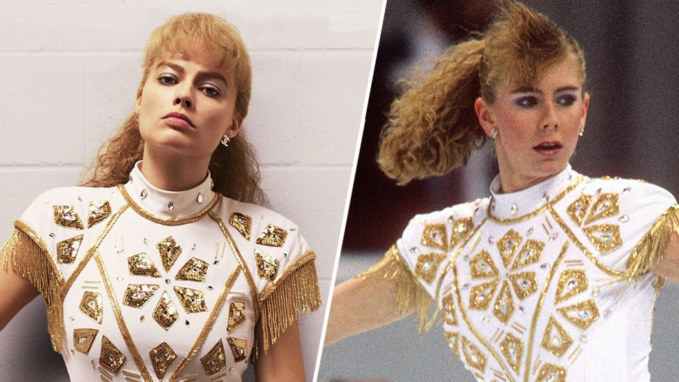 "Side-by-side photo of Margot Robbie in ""I, Tonya"" and Tonya Harding"